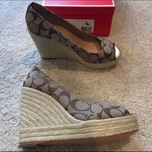 "Coach wedges, Brown/Tan, 4.5"", never worn."